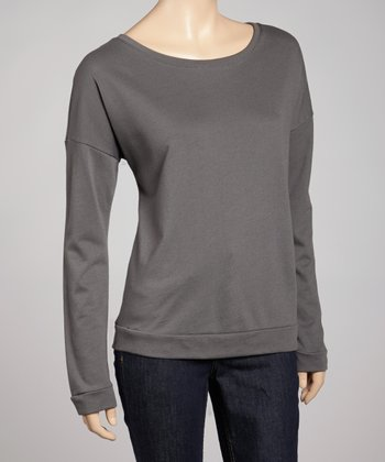 Dark Gray Terry Long-Sleeve Tee