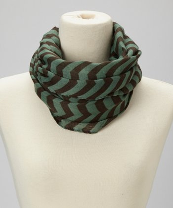 Teal & Brown Thin Zigzag Infinity Scarf