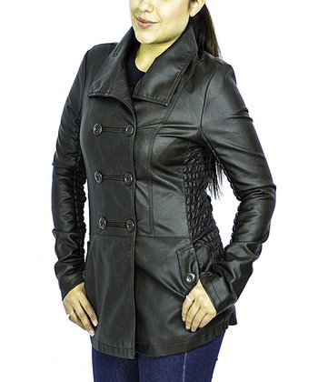 Coffee Double-Breasted Coat - Women