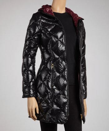 Black Quilted Zip-Up Jacket - Women