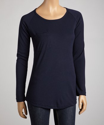 Navy Penny Pocket Raglan Top