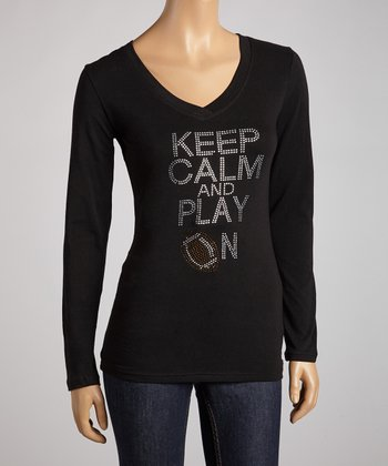 Black 'Keep Calm and Play On' Long-Sleeve Tee - Women & Plus