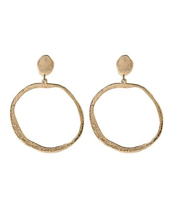 Gold Hammered Polka Hoop Earrings
