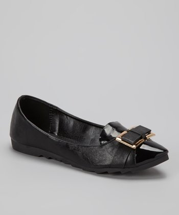 Black Patent Metallic Bow Flat