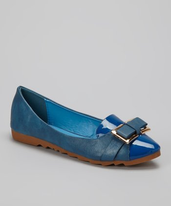Blue Patent Metallic Bow Flat