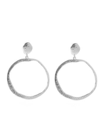 Silver Hammered Polka Hoop Earrings