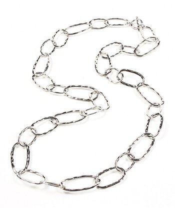 Silver Hammered Loop Necklace
