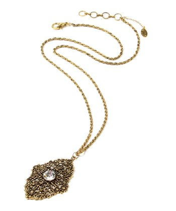 Antique Gold Crystal Calypso Engraved Necklace