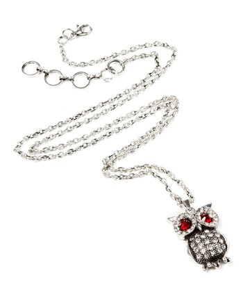 Antique Silver Eyeing Owl Necklace