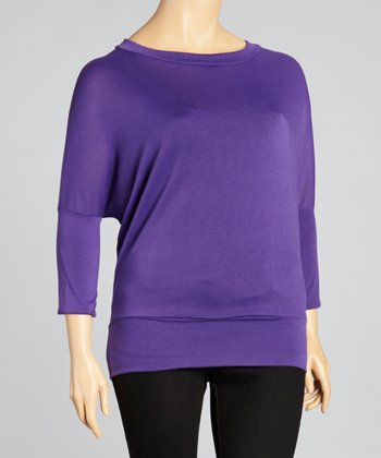 Purple Banded Waist Dolman Top - Plus