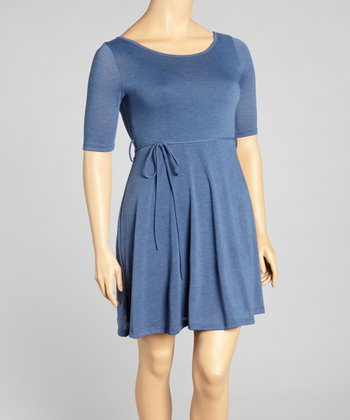 Blue Tie-Waist Dress - Plus