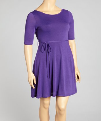 Purple Tie Waist Dress - Plus