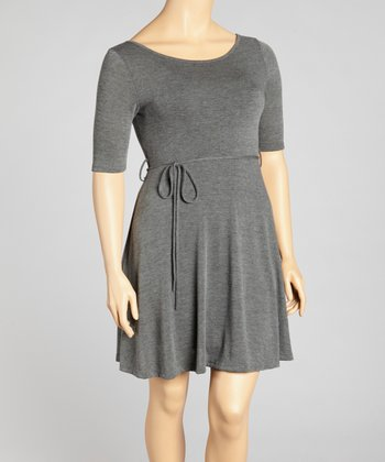 Charcoal Tie-Waist Dress - Plus