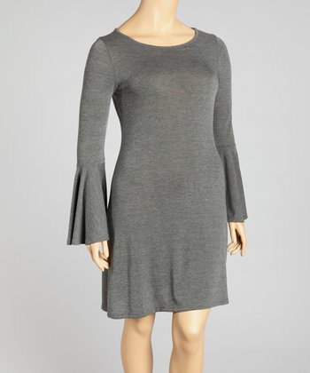 Charcoal Bell-Sleeve Sweater Dress - Plus