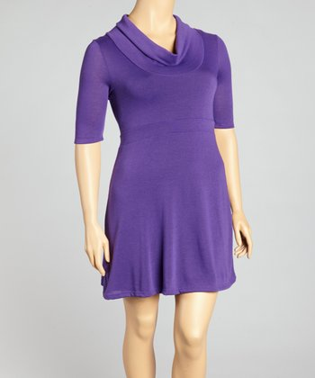 Purple Cowl Neck Sweater Dress - Plus