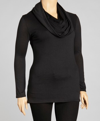 Black Cowl Neck Long-Sleeve Top - Plus