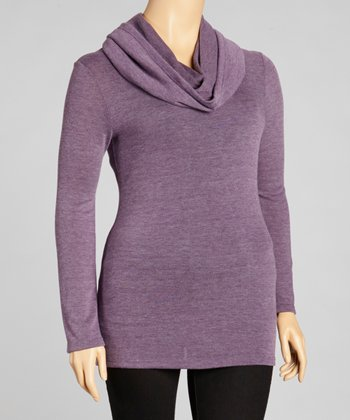 Heather Gray Purple Cowl Neck Long-Sleeve Top - Plus