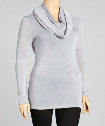Light Gray Cowl Neck Long-Sleeve Top - Plus