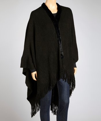 Black Faux Fur Trim Open Poncho - Women