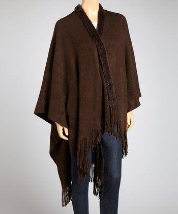 Brown Faux Fur Trim Open Poncho - Women