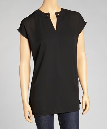 Black Sheer Cap-Sleeve Top