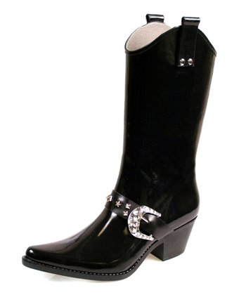 Black Rodeo Rain Boot