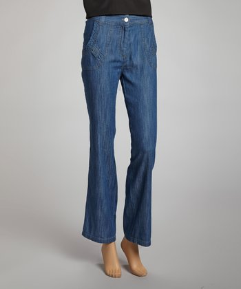 Blue Cropped Jeans - Women
