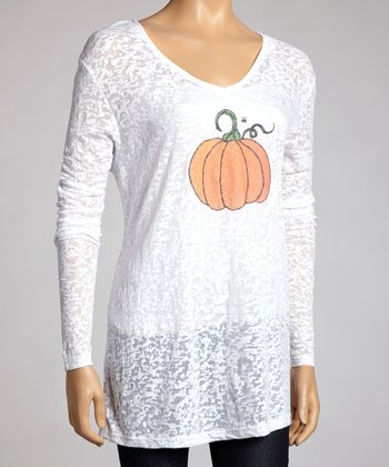 White Pumpkin Burnout V-Neck Top - Women & Plus