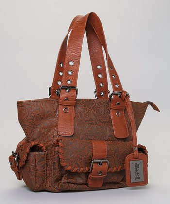 Brown Flourish Embossed Tote