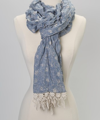 Turquoise & White Heathered Scarf
