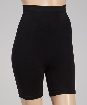 Black High-Waist Shaper Shorts - Women