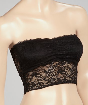 Black Lace Ruched Seamless Padded Bandeau - Women