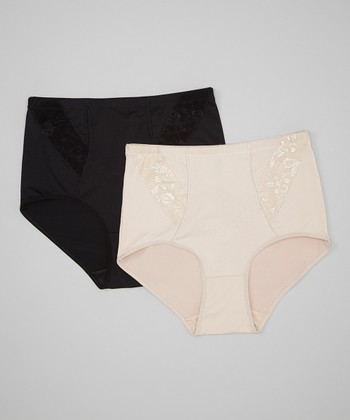 Black & Nude Embroidered Shaper Briefs Set - Women & Plus