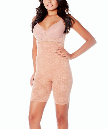 Honey Lace High-Waisted Longline Shaper Shorts - Women & Plus