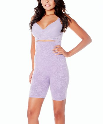 Lavender Lace High-Waisted Longline Shaper Shorts - Women