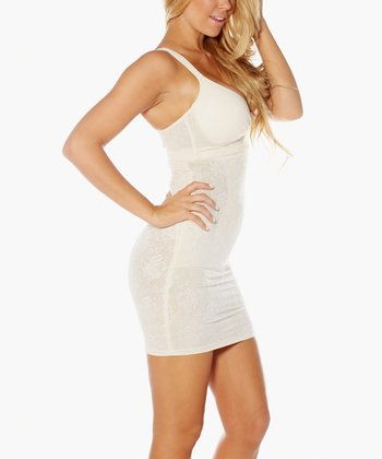 Cream Mesh Lace High-Waisted Shaper Slip - Women & Plus