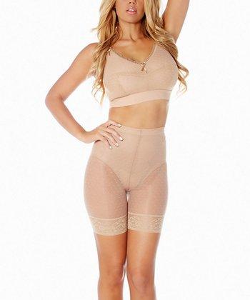 Champagne Mesh Dot Longline Shaper Shorts - Women & Plus