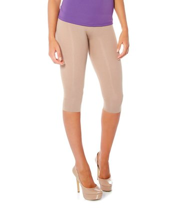 Taupe High-Waisted Shaper Capri Leggings - Women & Plus
