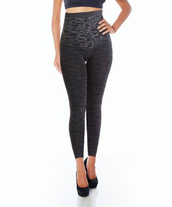 Gray Lace High-Waisted Shaper Leggings - Women & Plus