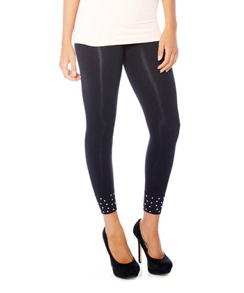 Black High-Waisted Stud Seamless Shaper Leggings - Women & Plus