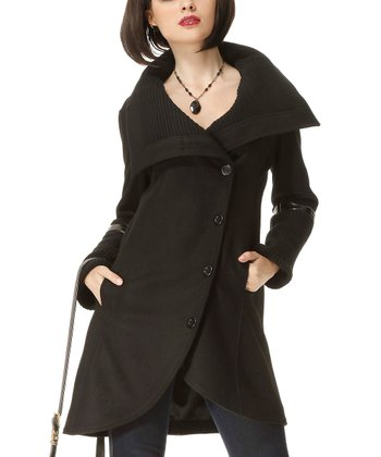 Black Sweater Collar Wool-Blend Coat