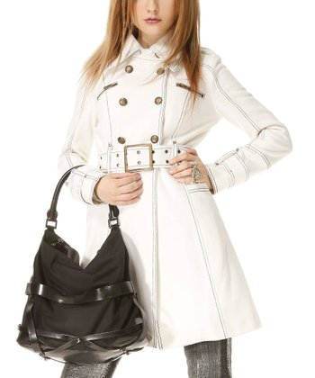 White Wool-Blend Military Trench Coat