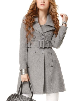 Heather Gray Folded Collar Wool-Blend Trench Coat