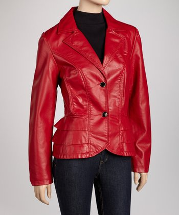 Red Tier Faux Leather Jacket