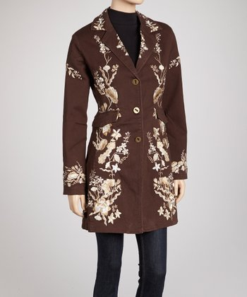 Brown & Gold Wildflower Embroidered Coat