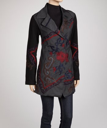 Black & Red Floral Double-Breasted Embroidered Coat