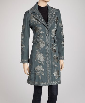 Teal & White Rose Embroidered Coat
