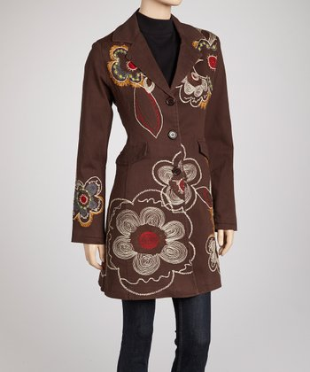 Brown Floral Swirl Embroidered Coat