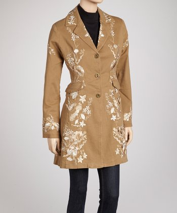 Earth & Gold Wildflower Embroidered Coat