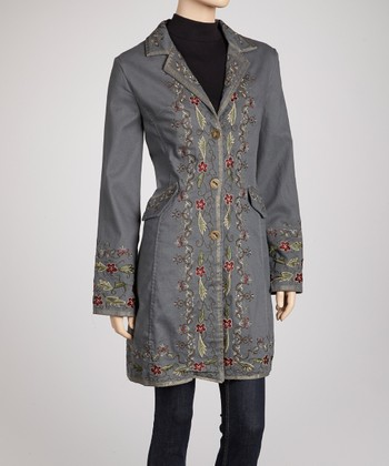 Light Teal Folk Blossom Embroidered Coat